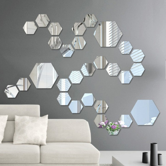 12PCS Acrylic Mirror Wall Stickers Self Adhesive - GEEKMANN✓