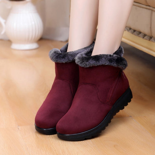 Zip Winter Snow Boots Ladies Warm Fur Suede Wedge Ankle - GEEKMANN✓