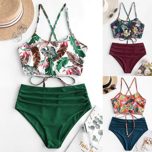 Swimsuit Summer Polyester Bikini Set High Waist Wire Swimwear - GEEKMANN✓