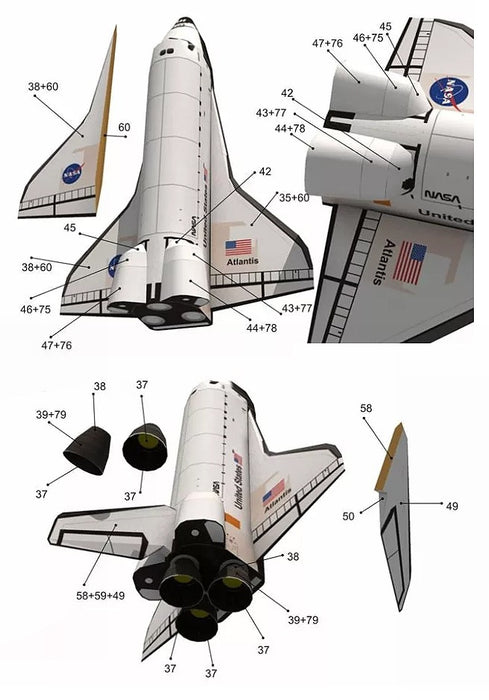 3D Paper Model Space Library Papercraft Cardboard Rocket - GEEKMANN✓