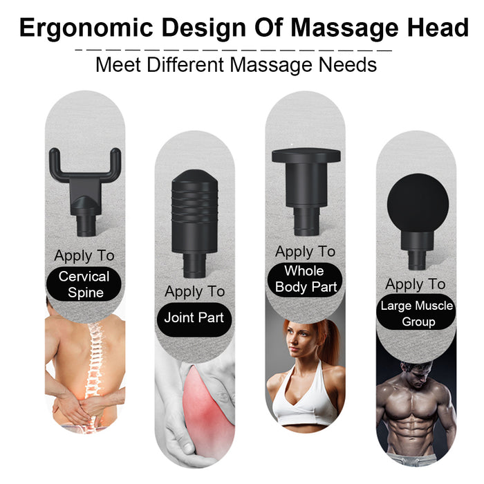 4000r/min Therapy Massage Guns 3 Gears Muscle Massager Relax Body Slimming Relief 4 Heads With Bag - GEEKMANN✓