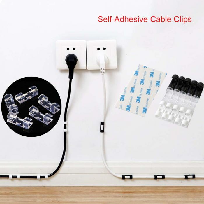 20Pcs/Box Home Office Desktop Self-Adhesive Cable Clips - GEEKMANN✓