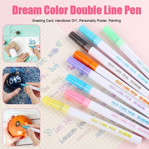 8 Colors/Set Card Writing Drawing Pens Double Line Outline - GEEKMANN✓