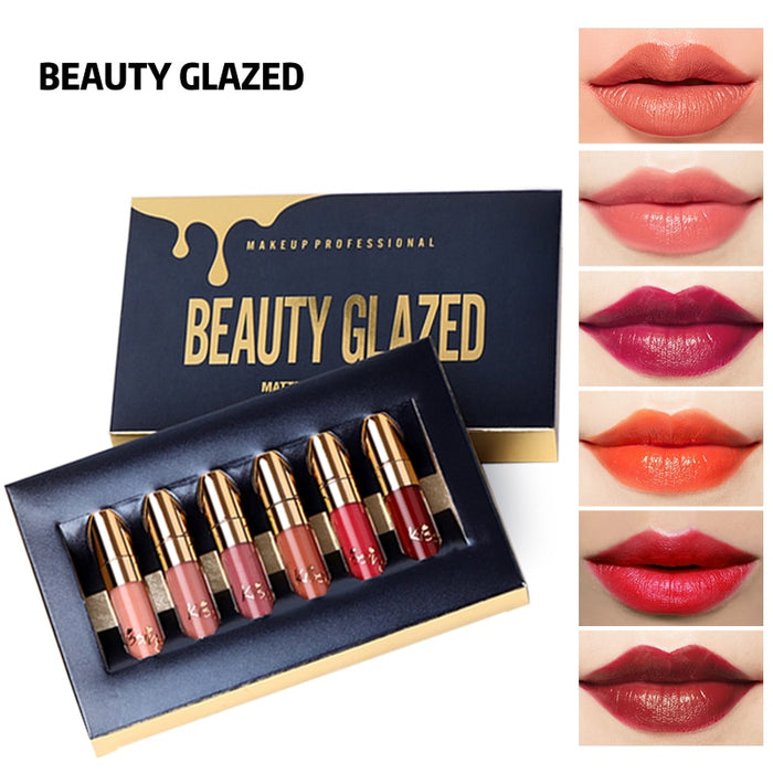 BEAUTY GLAZED Matte Lipstick Waterproof Lip Gloss - GEEKMANN✓