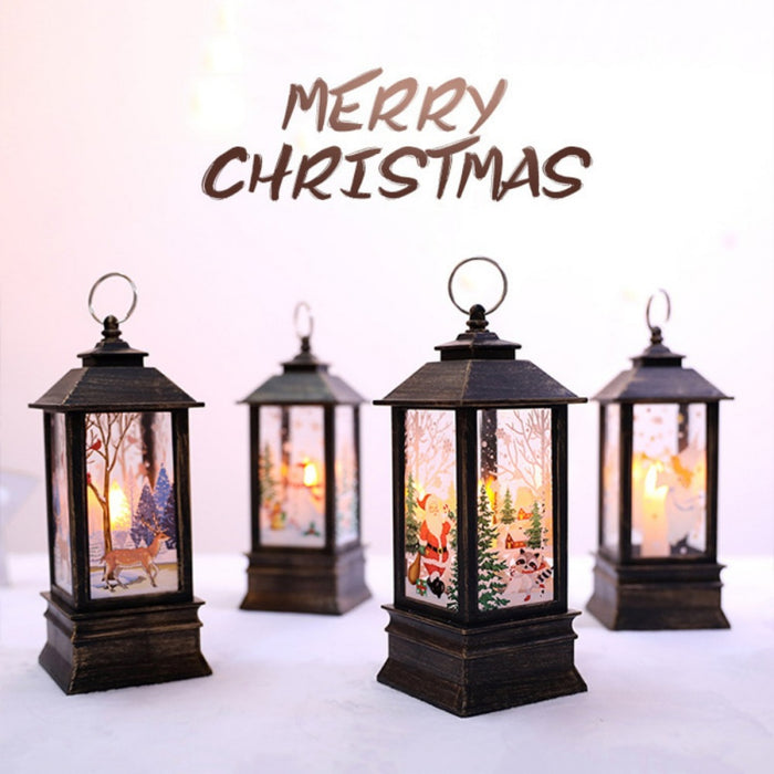 Christmas Mini Lantern LED lamp Santa Pattern Claus Snowman - GEEKMANN✓