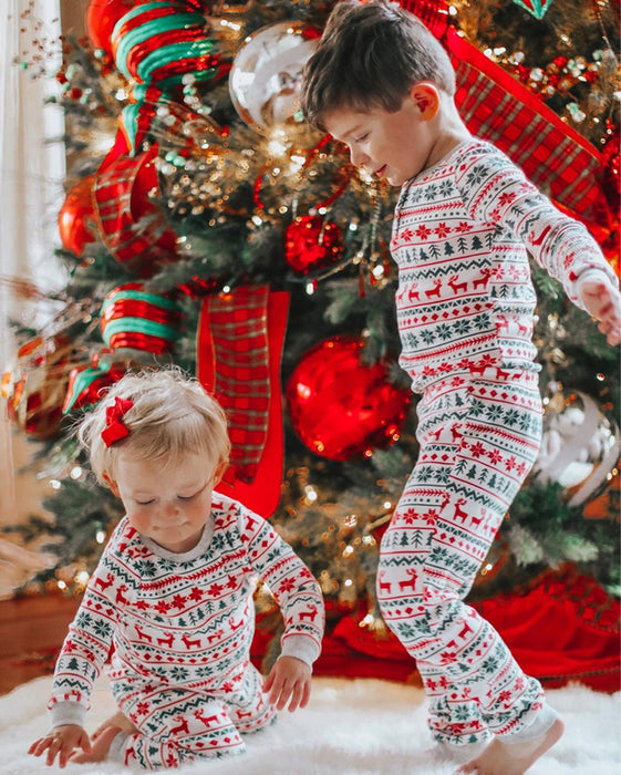 Family Christmas Pajamas Set Striped Elk Casual - GEEKMANN✓