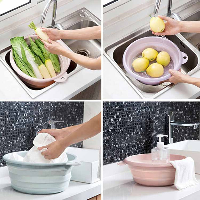 Folding Washbasin Portable Household Plastic Laundry Tub - GEEKMANN✓