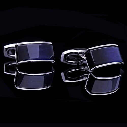 New shirt cufflinks for mens cuff buttons Black gradient blue gemelos - GEEKMANN✓