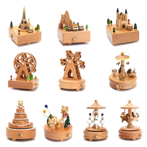 Carousel Musical Boxes Wooden Music Box Crafts Retro - GEEKMANN✓