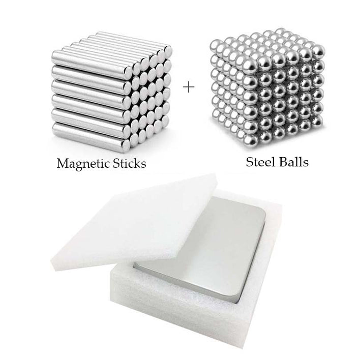 Magnets Cube Construction Sticks Steel Balls - GEEKMANN✓