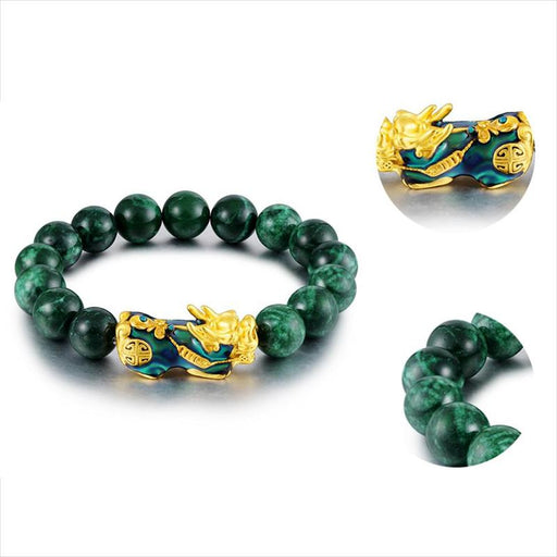 Natural Green Onyx Beads Golden Pixiu Charm Bracelet - GEEKMANN✓