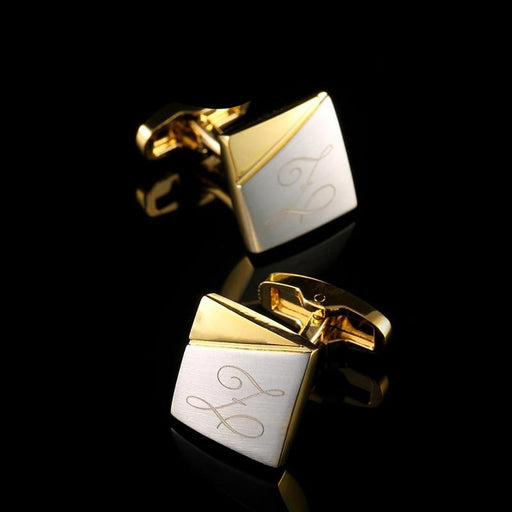 Personalized Gold Cufflinks Custom Name Cuff Links Mens - GEEKMANN✓