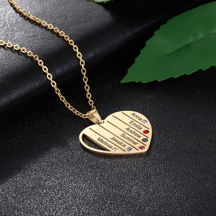 Personalized Customized 6 Names Family Heart Necklace - GEEKMANN✓