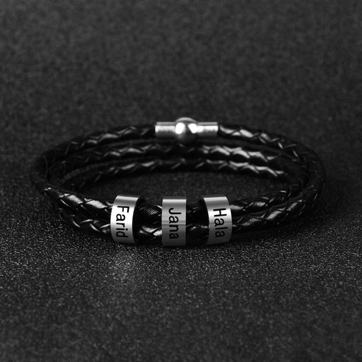 1-9 Names Personalized Mens Braided Leather Bracelet custom beads - GEEKMANN✓