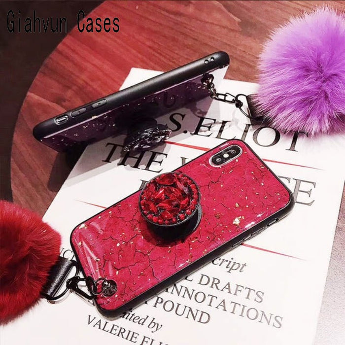 Luxury Marble Glitter Phone Holder With Fur Pompom - GEEKMANN✓