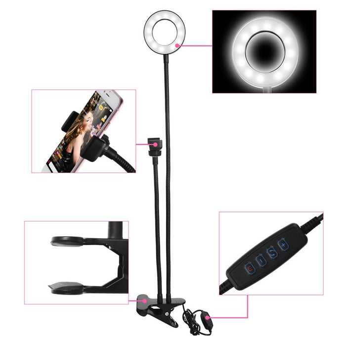 Photo Studio Selfie LED Ring Light with Cell Phone Mobile Holder - GEEKMANN✓
