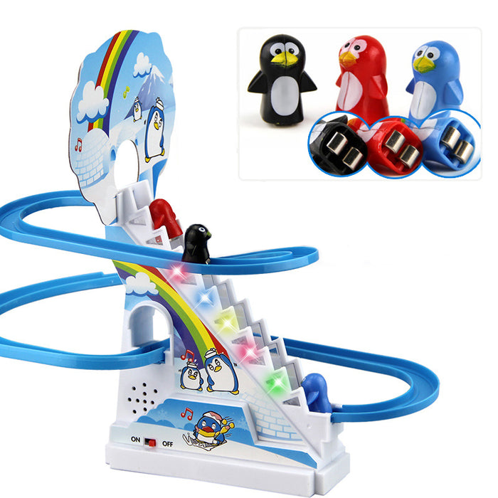 Penguin Slide Electric Railcar Toy - GEEKMANN✓