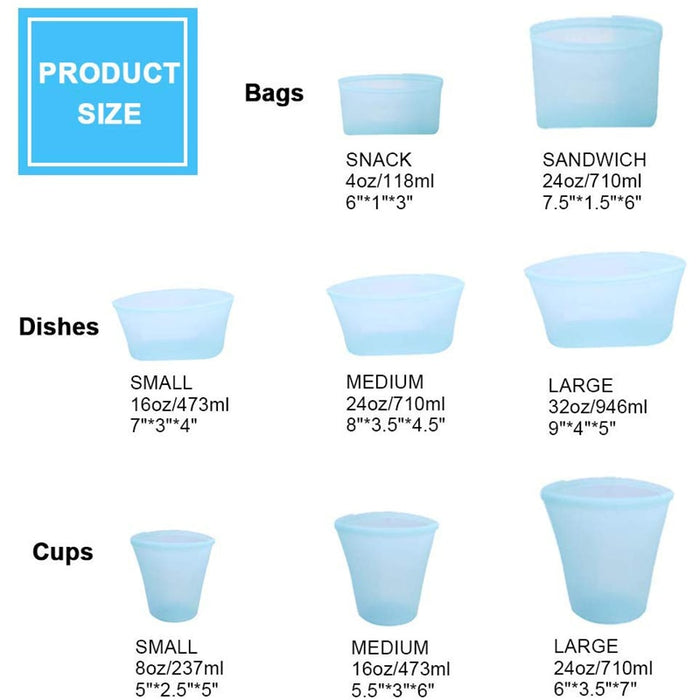 Silicone Food Storage Containers Set Fresh Bowl Cup Bag Organizer - GEEKMANN✓