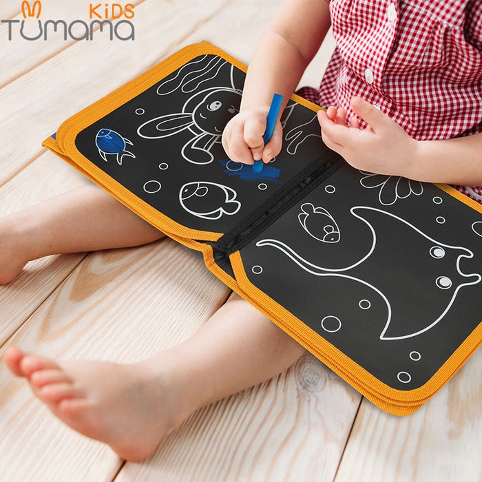 Portable Coloring Book DIY Blackboard Painting Drawing Board with Chalk - GEEKMANN✓