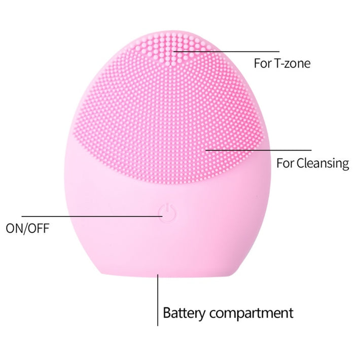 USB Facial Cleansing Brush Sonic Vibration Face Cleaner Silicone - GEEKMANN✓