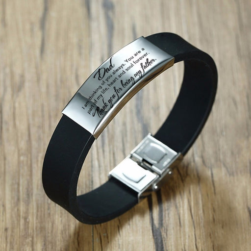Father's Day Silicone Bracelet Stainless Steel Customize Engraving - GEEKMANN✓