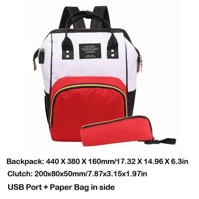 Mummy Diaper Bag USB Port Backpack Large Capacity Travel - GEEKMANN✓
