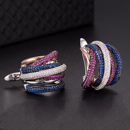 Luxury Twist Braided Lines Colorful Full Mirco Pink Cubic - GEEKMANN✓