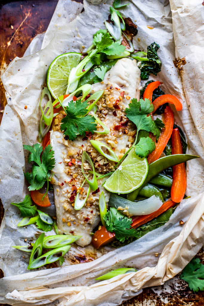 Sesame-Ginger Parchment Baked Pickerel