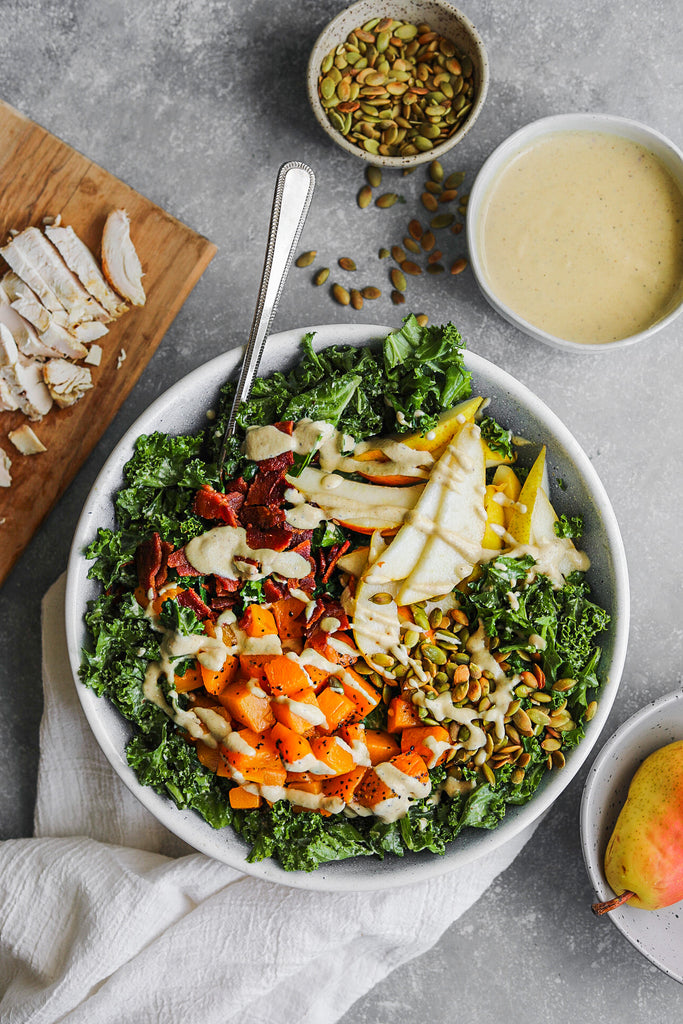 Kale & Roasted Butternut Squash Salad with Creamy Sweet Onion Dressing