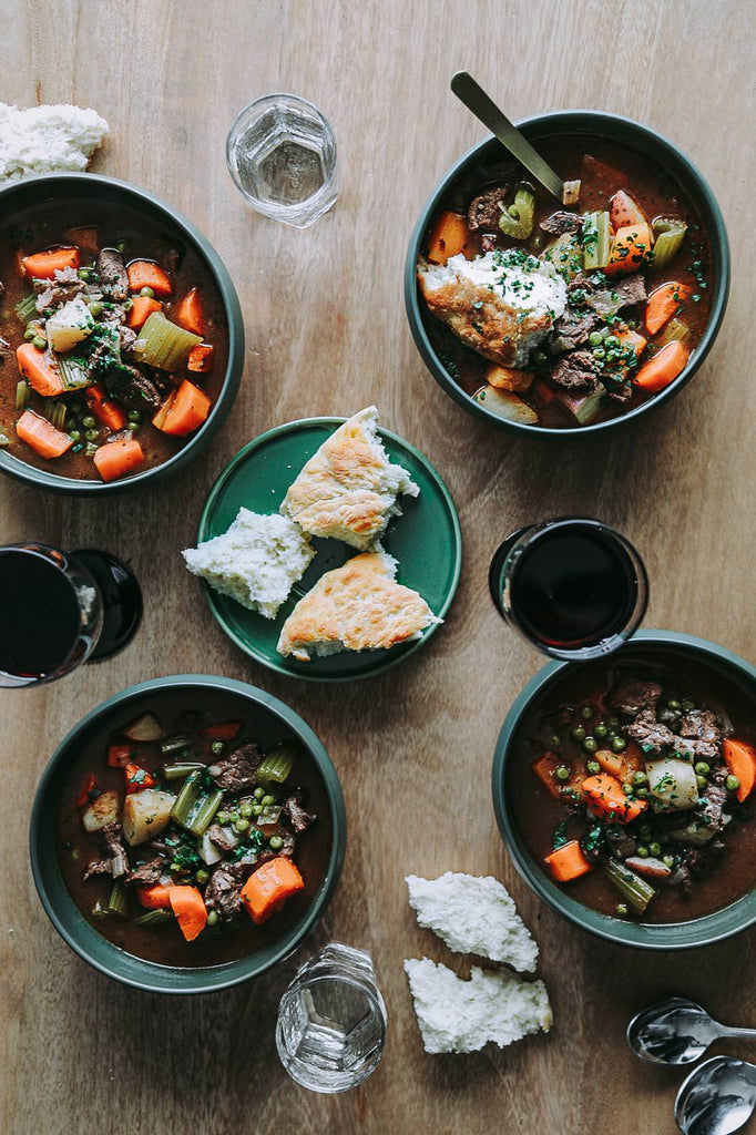 Hearty Moose Stew with Winter Vegetables & Bannock