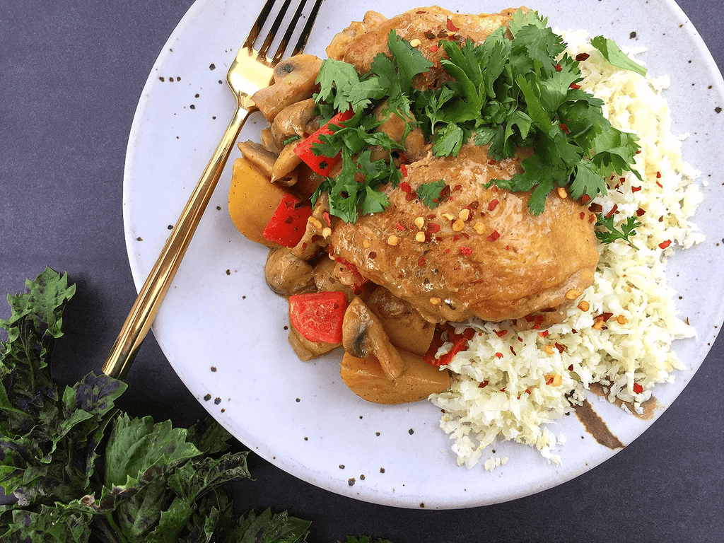 Easy Chicken Curry with Mushrooms and Red Pepper