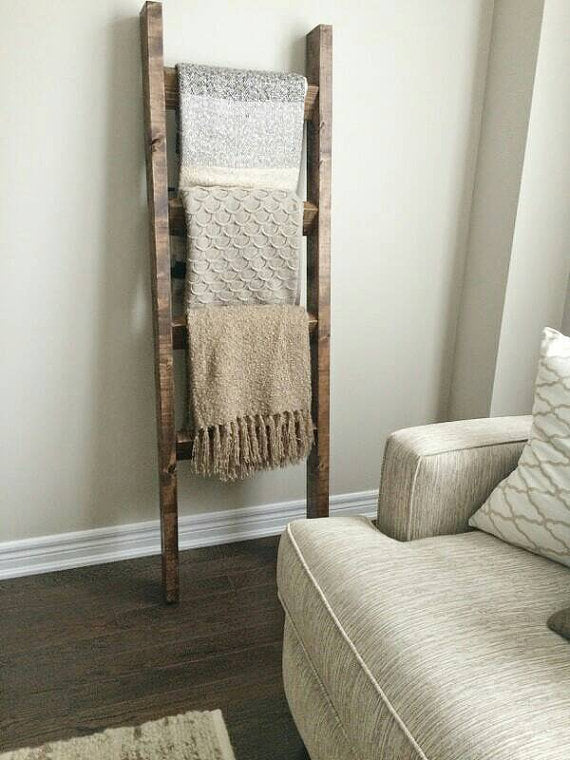 Rustic Blanket Ladder - Pipe And Wood Designs