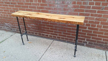 Load image into Gallery viewer, Rustic Reclaimed Wood Pipe Console Table - Pipe And Wood Designs