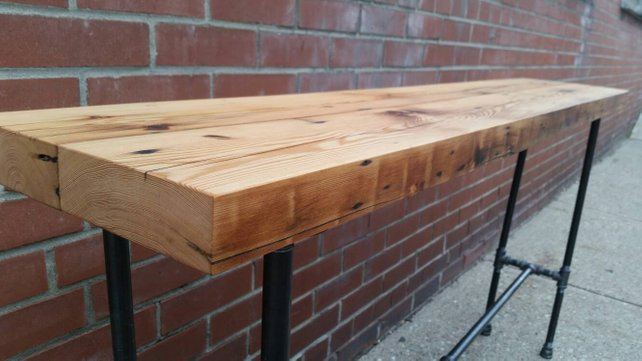 Rustic Reclaimed Wood Pipe Console Table - Pipe And Wood Designs