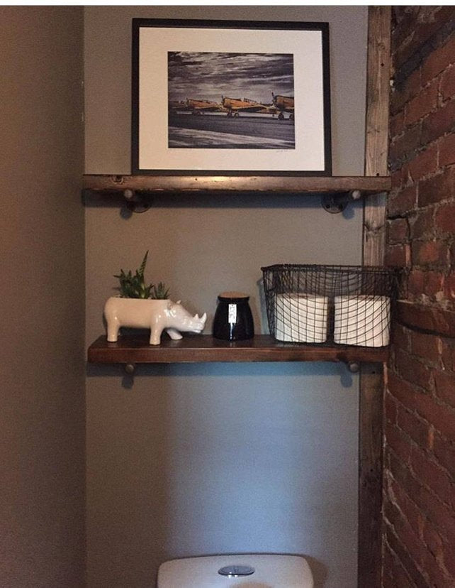 Wood Shelves with Pipe Mount  (Set of one or two) - Pipe And Wood Designs