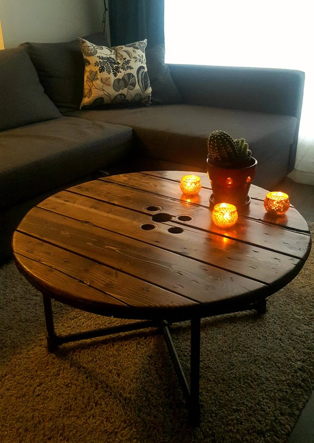 Spool Coffee Table - Pipe And Wood Designs