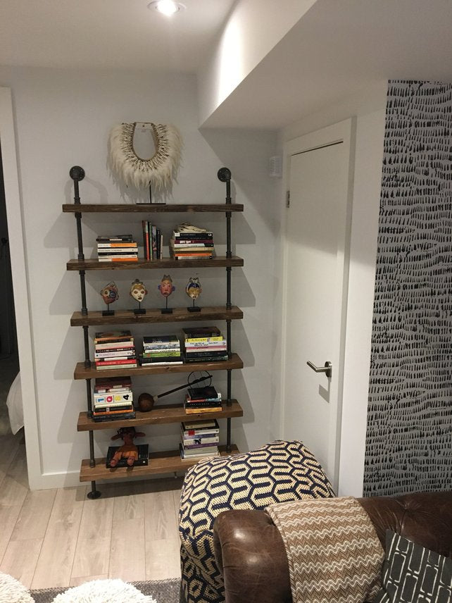 Pipe and Wood Shelving Unit Floor to Ceiling - Pipe And Wood Designs