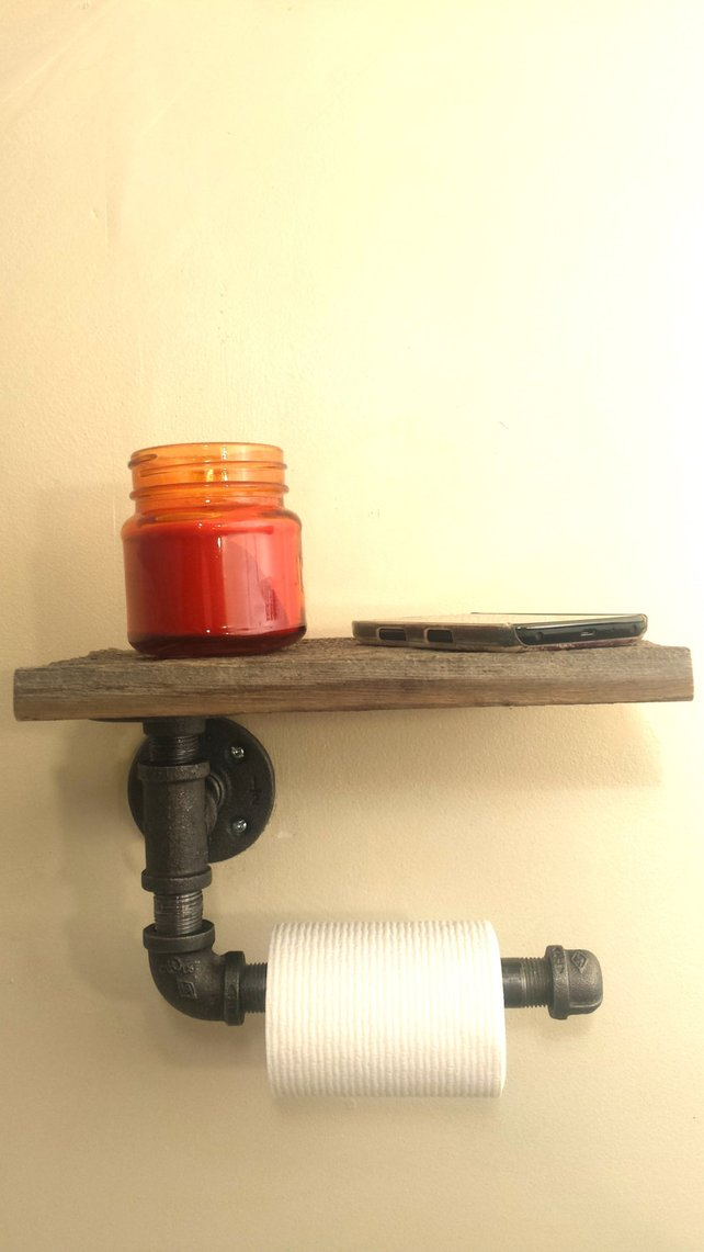 Industrial Pipe and Barnwood Toilet Paper Holder - Pipe And Wood Designs