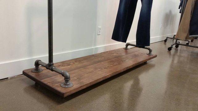 Rustic Industrial Pipe and Wood Clothing Rack - Pipe And Wood Designs