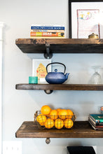 Load image into Gallery viewer, Rustic Wood Shelves with Industrial Pipe Mount - Pipe And Wood Designs