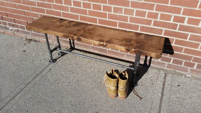 Rustic Industrial Pipe and Wood Bench - Pipe And Wood Designs