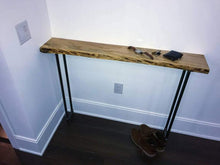Load image into Gallery viewer, Rustic Wood Console Table Live Edge Wood Entrance Table - Pipe And Wood Designs