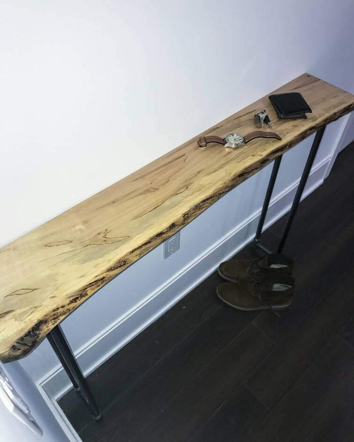 Rustic Wood Console Table Live Edge Wood Entrance Table - Pipe And Wood Designs
