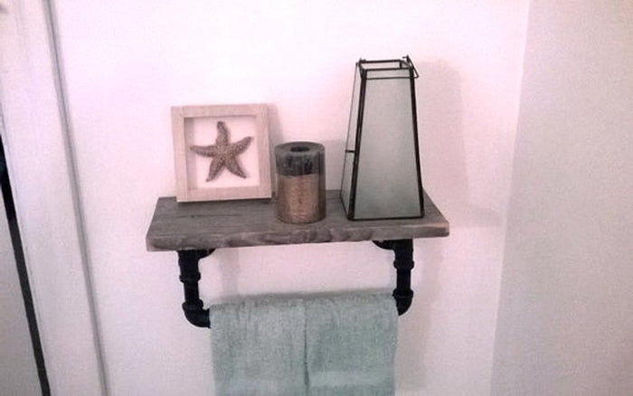 Salvaged Barnwood and Pipe Towel Rack - Pipe And Wood Designs
