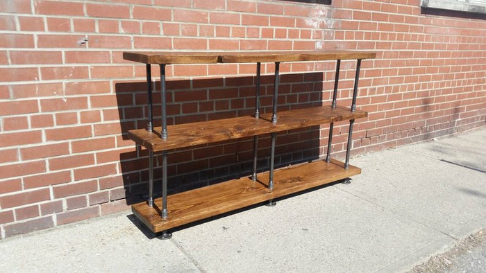 Rustic Industrial Pipe and Wood Console Table - Pipe And Wood Designs