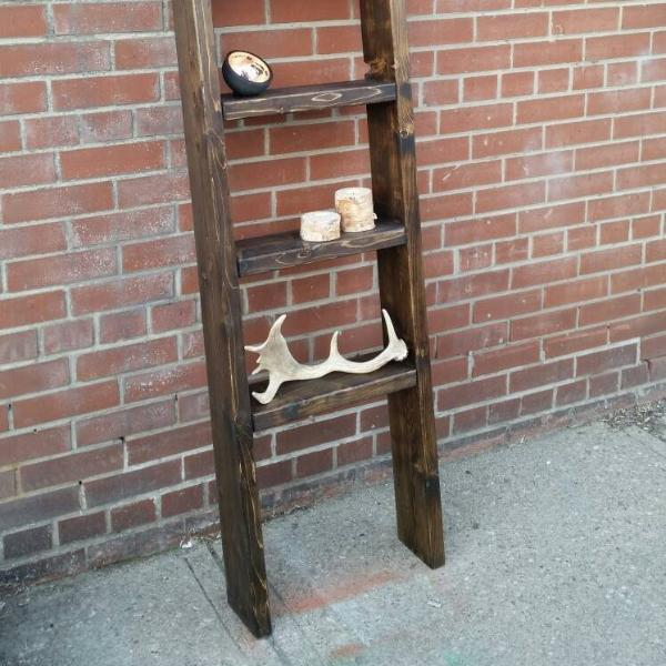 Rustic Wood Ladder Shelf - Pipe And Wood Designs