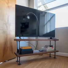 Load image into Gallery viewer, Solid Walnut Wood TV Stand - Pipe And Wood Designs