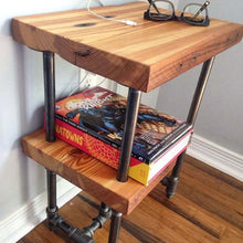 Load image into Gallery viewer, Reclaimed Wood and Industrial Pipe Side Table - Pipe And Wood Designs