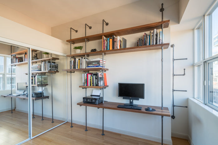 Pipe and Wood Desk with Bookcase - Pipe And Wood Designs