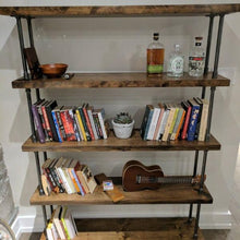 Load image into Gallery viewer, Industrial Pipe and Wood Bookcase - Pipe And Wood Designs
